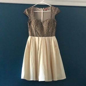Black Gold and Cream Formal Dress